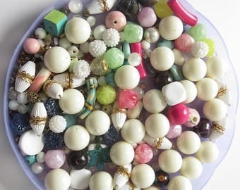 On Sale Bead Mix Bead Soup Mixed Lot of Beads Jewelry Supply Vintage to New Ceramic Plastic Glass