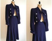 Reserved // 1940s Navy Blue Suit 40s Wool Crepe XS Blazer Jacket Skirt Set