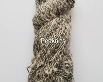 Handspun Yarn ~ 160 yards (480 feet) Boucle, Grey Huacaya Alpaca plied with Black Cotton Thread - Fingering Weight, 2.2 ounces