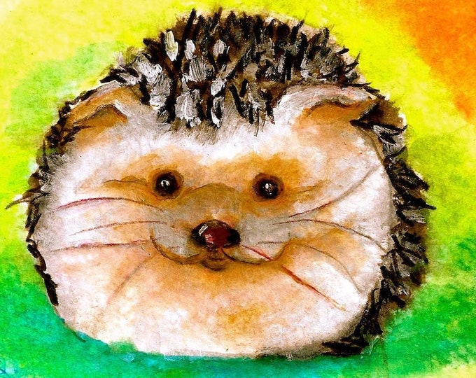 Happy Hedgehog-Whimsical Animal Art Print by SQ Streater-Free Shipping