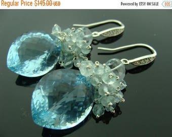 Sky Blue Topaz Aquamarine Fancy Cut Large Stone 925 Sterling Silver Earrings