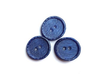 3 Iridescent Dark Blue Buttons, 24mm
