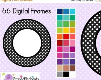 40% OFF SALE Polka Dot Circle Digital Frames 1 - Clip Art Frames - Instant Download - Commercial Use