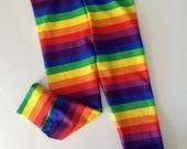 Rainbow Stripe leggings Baby Toddler Kids Girls Boys colorful unisex stretch Rainbow Brite stripes costume 0 3 6 9 12 19 24 months 2T 3T 4T