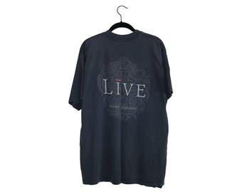 Vintage LIVE Secret Samadhi 90's Distressed Faded Black 100% Cotton Crewneck T-Shirt - XL