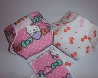 Baby Doll Diaper/wipes - COMBO SET - favorite kitty, hearts and bows - adjustable  many dolls such as bitty baby