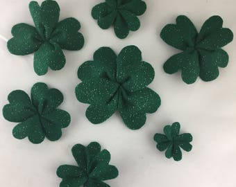 Felt 4 Leaf Clover Shamrock Magnets 7 Clovers