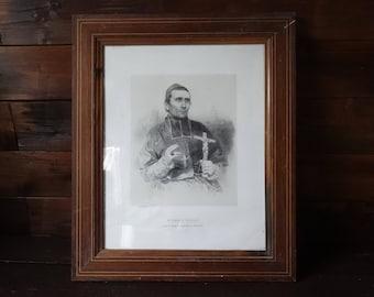 Antique French Print Mr Emmanuel Verrolles Vicaire de Mandchourie Catholic Religious framed glass fronted circa 1850's / English Shop