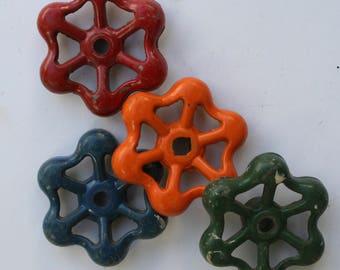 Set of 4 Super Sweet Spring Mix Vintage Valve Handles -Faucet Handles-Garden Spigot Handles-Shipping Special
