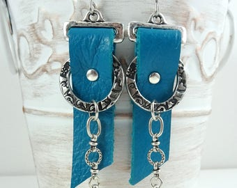 Turquoise and Silver Leather Earrings - Bohemian Leather Earrings - Turquoise Leather Earrings, Turquoise Earrings, Boho Leather Earrings
