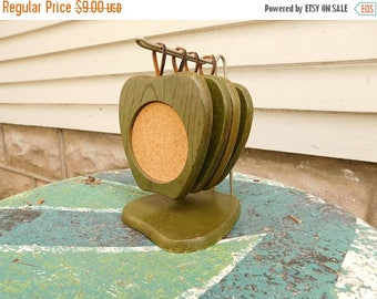 Birthday Sale Vintage Wood and Cork Coasters With Holder, Green Apples Coaster Set