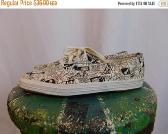 Birthday Sale Vintage Keds Comic Strip Sneakers, Women's Size 7.5