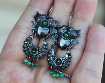 Vintage Sterling Silver Oaxacan Mexican Love Bird and Turquoise Beaded Earrings Frida Kahlo