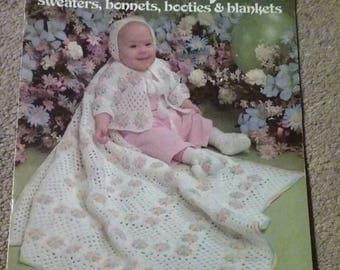 Crocheted Layettes, Pattern Book, Leisure Arts, Crochet,  Sweaters, Bonnets, Booties, Blankets, 2 Designs, Winter and Spring,  OFG