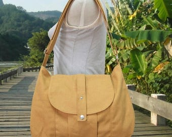 On Sale 20% off yellow cotton canvas bag / messenger bag / shoulder bag / everyday bag / diaper bag / cross body bag - 6 pockets