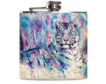 Personalized Tiger Flask for Women, Big Cat Lover, Birthday Drinking Gifts for Girlfriend, 6oz Stainless Steel Hip Flask