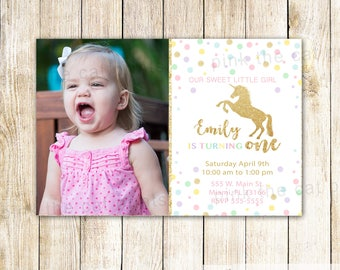 Glitter Unicorn Invitation Unicorn Birthday Invitation Unicorn Party Gold Glitter Unicorn Invitation Confetti Unicorn Theme Photo Invitation