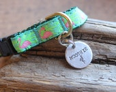 Custom Pet Tag, Flamingo Road,  Dog ID Tag, Tag for Tiny Dog, Hand stamped ID, Custom Cat Tag, Tag for Toy Breed Dog
