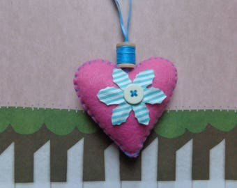 Pink Handmade Heart Ornament by Pepperland