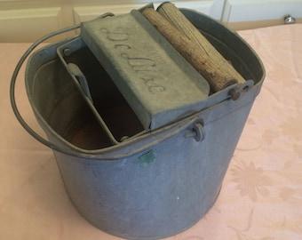 Primitive Mop Bucket Galvanized Mop Bucket Metal Bucket Wooden Detail De-Luxe Brand Name Vintage Bucket Industrial Kitchen