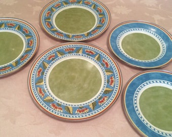 Set of 5 Formation Tin Plates Hard To Find. Originally Sold By Target Green Multi Color Designs. Camping Plates Dinning Ware