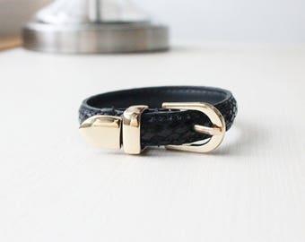 Lizard Pattern Buckle Belt Leather Bracelet(Black)