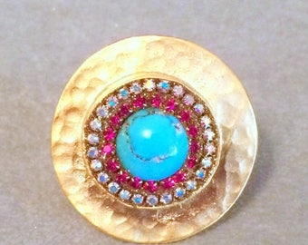 Summer SALE Genuine turquoise and swarovski crystal ring