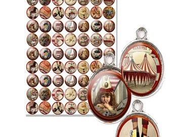 printable steampunk circus labels 1 inch charms vintage craft collage sheet DIY jewelry charms fits glass domes great for all projects