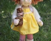 """Jennifer and John OOAK Natural Fibres Doll by Atelier Lavendel Waldorf Inspired Doll  Cloth Doll 19"""" Artist Bear ECO friendly"""