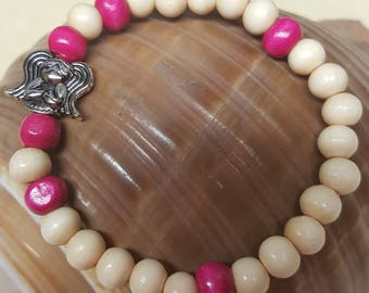 Pink and White Wooden Angel Stretch Bracelet