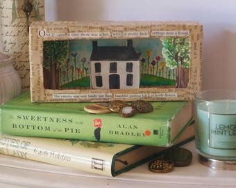 Shadow Box Handcrafted Paper Art Cottage Garden House On A Hill