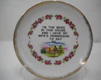 I'm The Boss Porcelain Plate Wall Hanging By Centennial Novelty Los Angeles FREE SHIPPING