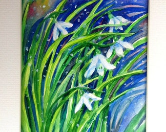 "SALE  ""Snowdrops in Snow""  - Original Watercolor Art, Painting gift, Flower painting hite blooms,  Mat included"