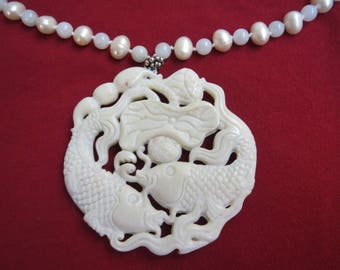 Carved Koi Fish Pendant on Hand Knotted Jadeite and Cultured Pearl Necklace