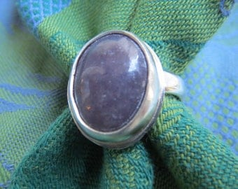 Lavender Purple Lepidolite in Argentium Sterling Ring Size 8