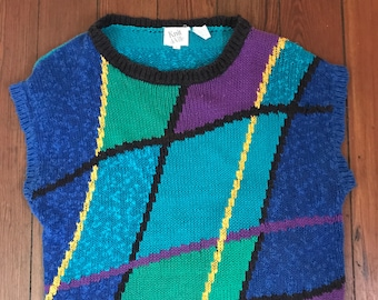 80's Vintage Linen Sweater Top Wild Style large