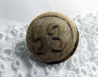 Fabric button printed number, 24 mm in diameter