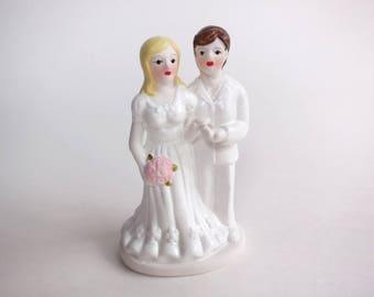 Vintage Wedding Cake Topper 1970s Porcelain Bride and Groom, Blonde Bride with Pink Roses