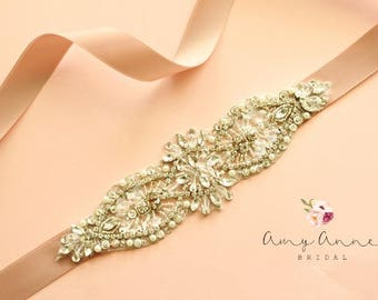 "Crystal Rhinestone Pearl Bridal Sash, Bling Sash, Rhinestone Pearl Crystal Bridal Sash Sash. 8"" of Rhinestones"