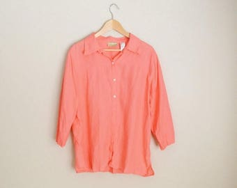 Summer SALE - 20% off - vintage coral pink linen blouse shirt  // womens large