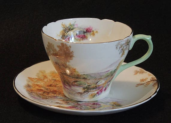 Vintage Shelley England Fine Bone China Cup & Saucer.. Heather Pattern