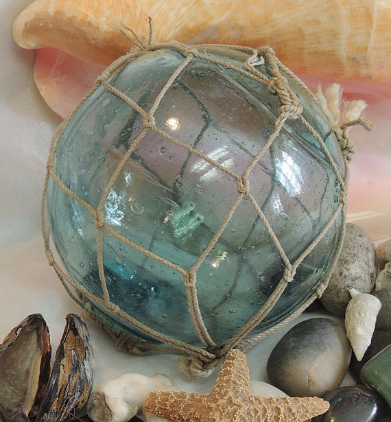 Vintage 15.5 Inch In Circumference Japanese GLASS FISHING FLOAT With Full Net (#42)