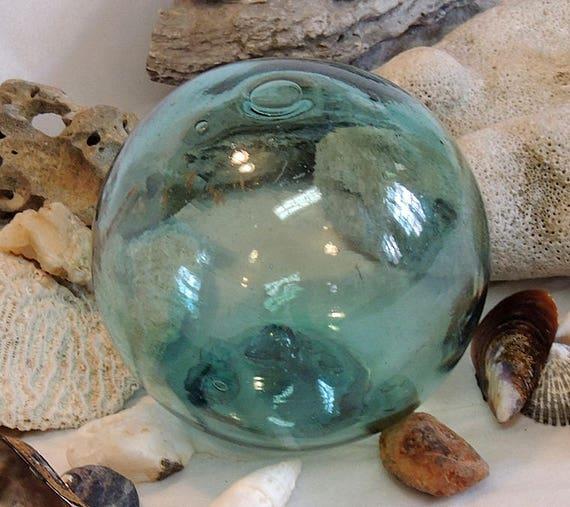 "Vintage 13"" In Circumference Japanese GLASS FISHING FLOAT Rare Kanji Maker's Mark (#66)"