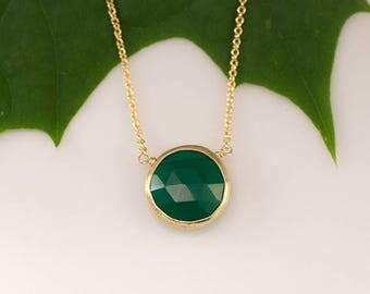 40 OFF - Green Onyx Necklace - Layering Necklace - bezel set necklace - gemstone necklace - Gold necklace -