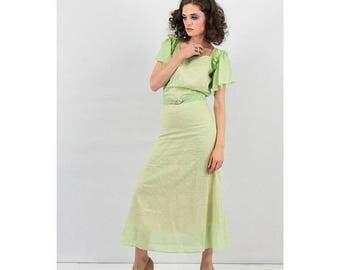 FLASH SALE... 1930s dress / Vintage cotton voile Swiss dot gown with flutter sleeves / Creme de Menthe / Polka dot / XS