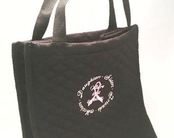 Breast Cancer Gift, Black Quilted Tote, Pink Ribbon, Breast Cancer Ribbon, Awareness, We're in it Together, Gift for Her, Black Tote Bag