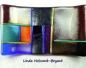 Soap Dish of Fused Iridescent and Dichroic Glass
