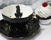 SELECTED SECONDS Black & Gold Cat or Custom Personalized Teacup, Cat Teacup, Cat Mug, Cat China, Cat Plate, Cat Mug, Cat Porcelain, Cat Cup