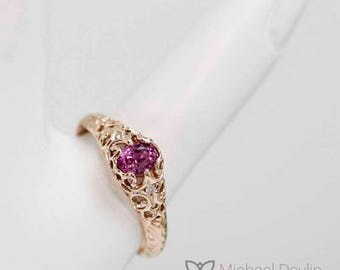 pink sapphire filigree style ring