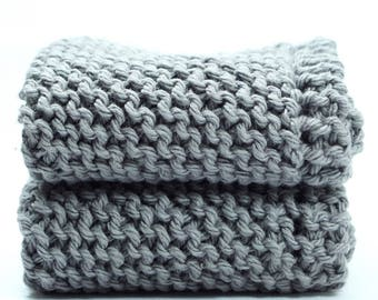 Cotton Dishcloths, Gray Wash Cloths, Two Cleaning Cloths, Knitted Dish Cloths, Grandma's Favorite, Dish Rag, Kitchen Cleaning Cloths, Grey